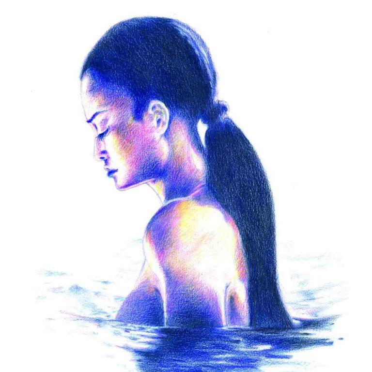 Zeichnung Mädchen im Wasser