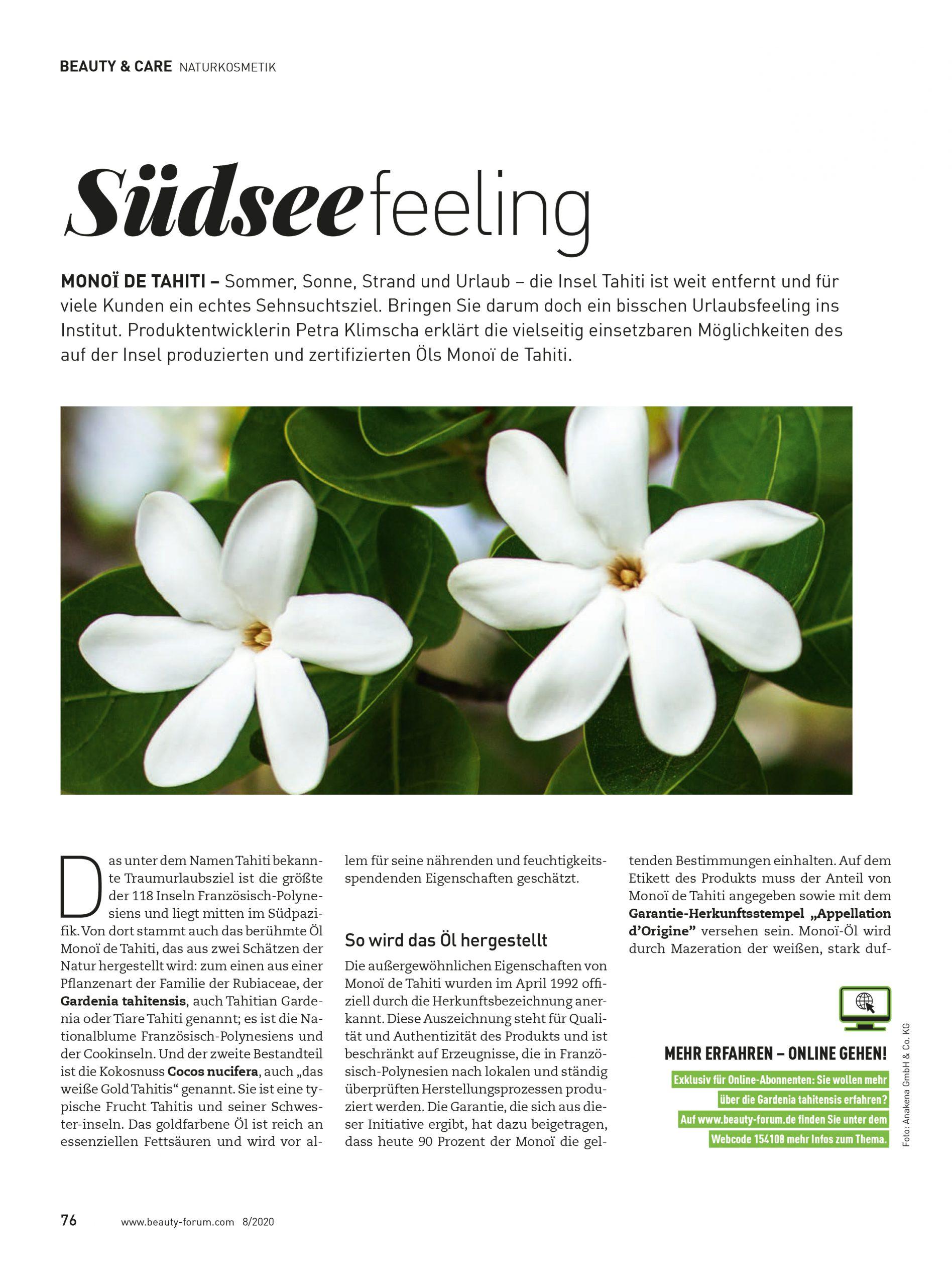 Monoi de Tahiti_Artikel Seite 1